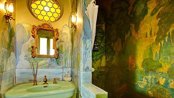 Bathroom murals in Sister Aimee Castle in Lake Elsinore